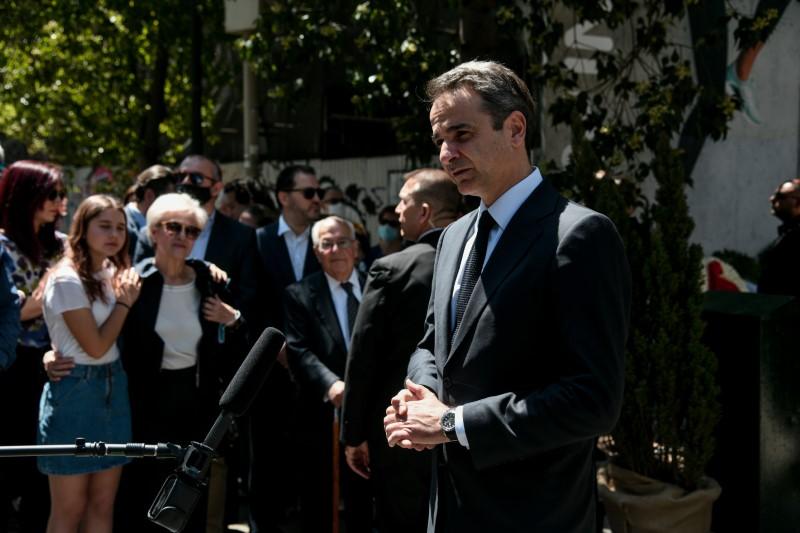 Ο Κυριάκος Μητσοτάκης κάνει δηλώσεις για την εκδήλωση μνήμης των θυμάτων της Marfin