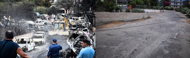 Δρόμος που πέρασε η φονική πυρκαγιά στο Μάτι