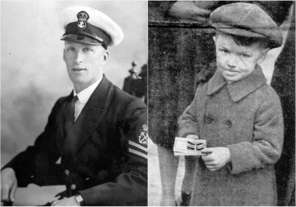 Μέλος του πληρώματος του υποβρυχίου που ναυάγησε στη Μάλτα και δεξιά ο γιος του με τα παράσημα του νεκρού πατέρα του στα χέρια