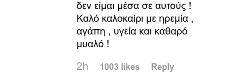 Η απάντηση της Ελένης Μενεγάκη σε follower / Φωτογραφία: Instagram