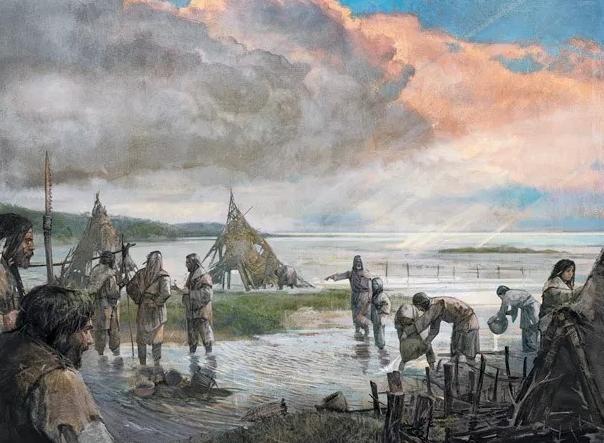Αναπαράσταση οικισμού της Μεσολιθικής εποχής στη Βρετανία