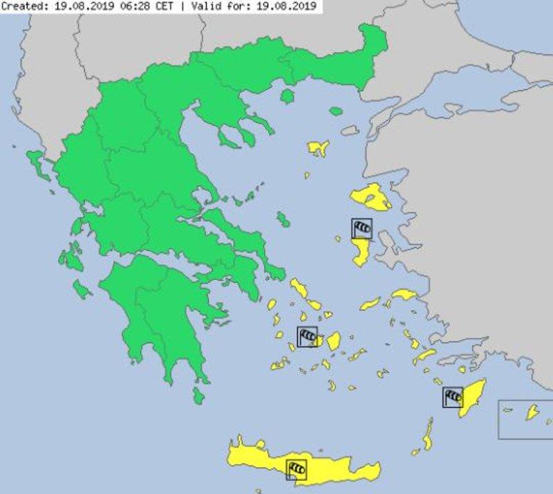 Ο χάρτης προειδοποίησης για τους ανέμους σήμερα