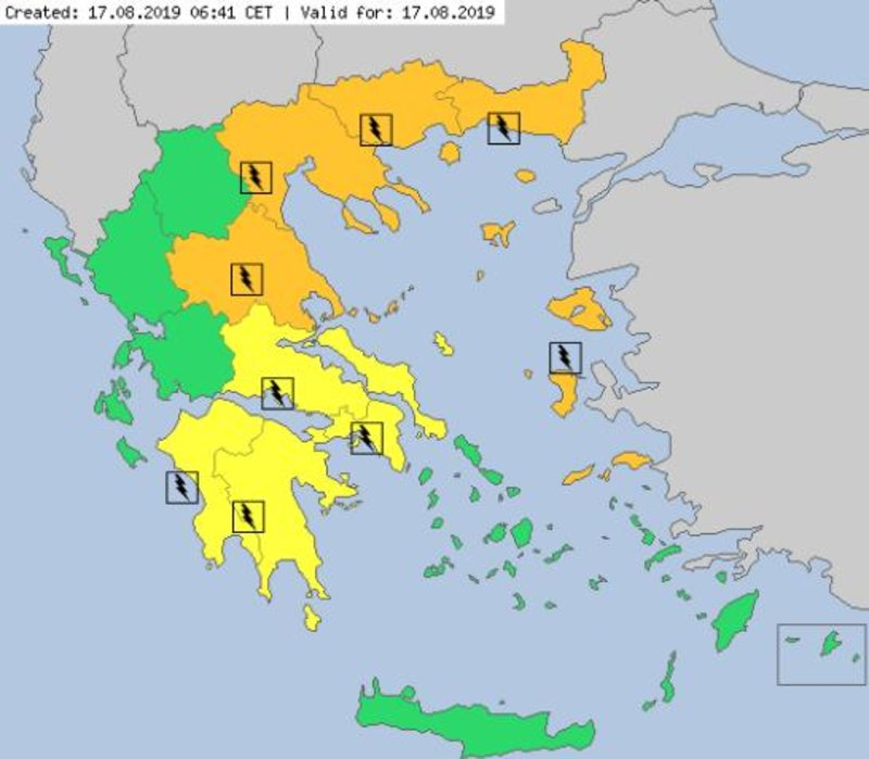 Ο χάρτης του Meteo Alarm για τον καιρό