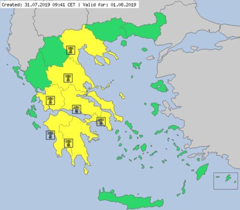 Ο χάρτης προειδοποίησης του MeteoAlarm για τον καύσωνα της Πέμπτης