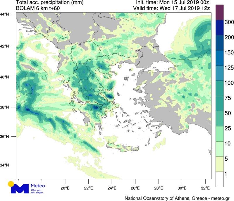 Ο χάρτης βροχοπτώσεων του Εθνικού Αστεροσκοπείου Αθηνών