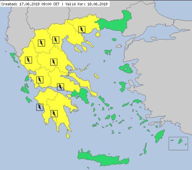 Ο χάρτης του MeteoAlarm για την Τρίτη. Με κίτρινο επισημαίνονται οι περιοχές όπου αναμένονται καταιγίδες