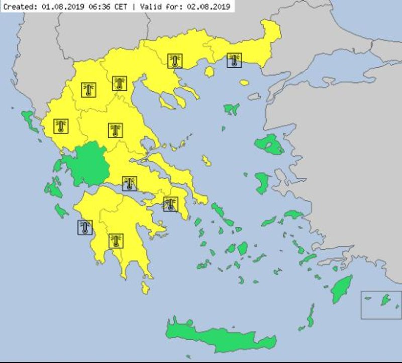 Το μεγαλύτερο τμήμα της χώρας θα πάρει σήμερα μια πρώτη γεύση από τον επερχόμενο καύσωνα / Χάρτης: METEOALARM.EU