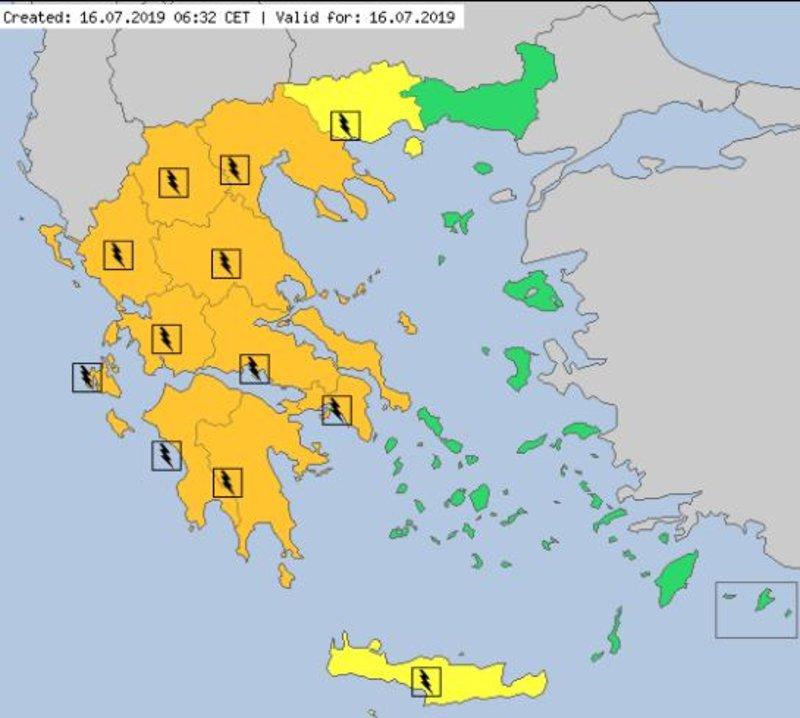 Ο χάρτης προειδοποίησης του meteoalarm