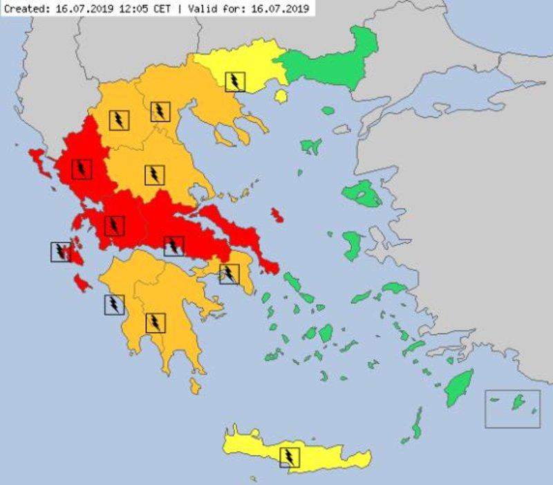 Ο προειδοποιητικός χάρτης ακραίων καιρικών φαινομένων για σήμερα, Τρίτη 16 Ιουλίου