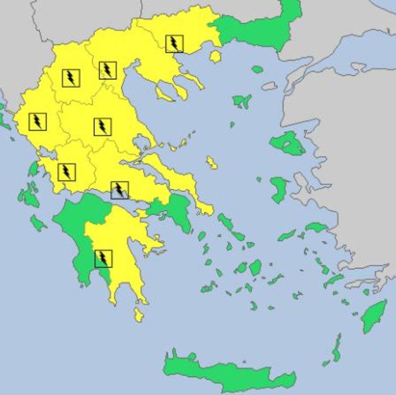 Χάρτης όπου εικονίζονται με κίτρινο χρώμα τα σημεία της χώρας όπου αναμένονται βροχές και καταιγίδες τη Μεγάλη Παρασκευή