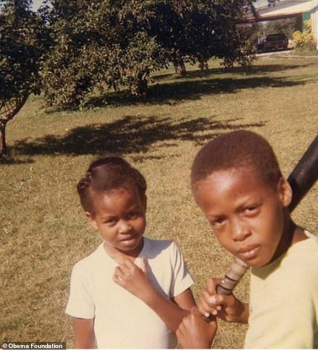 Μισέλ Ομπάμα και αδερφός μικροί