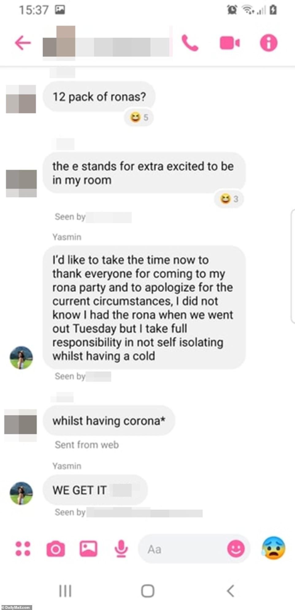 Το μήνυμα που έστειλε η 26χρονη Γιασμίν σε φίλους ευχαριστώντας τους που πήγαν στο πάρτι κορωνοϊού