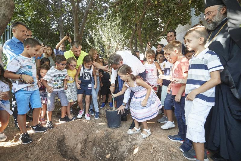 Ο Κυριάκος Μητσοτάκης φυτεύει την ελιά
