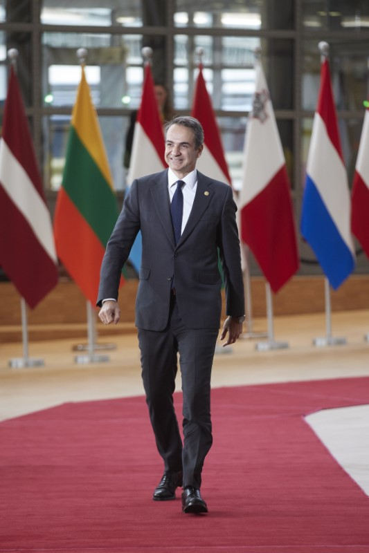 Ο Κυριάκος Μητσοτάκης προσέρχεται στην σύνοδο κορυφής της ΕΕ