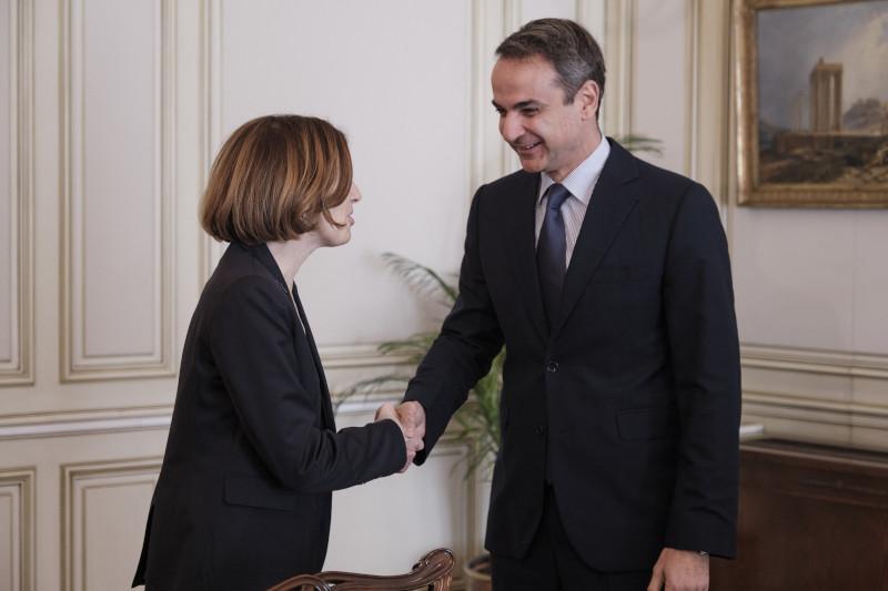 Ο Κυριάκος Μητσοτάκης με την Γαλλίδα υπουργό Αμυνας