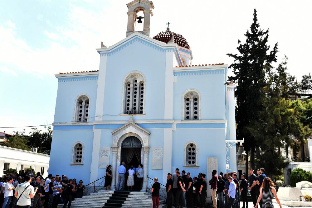 Η εκκλησία στο Α' Νεκροταφείο όπου τελέστηκε το μνημόσυνο στον Παύλο Γιαννακόπουλο