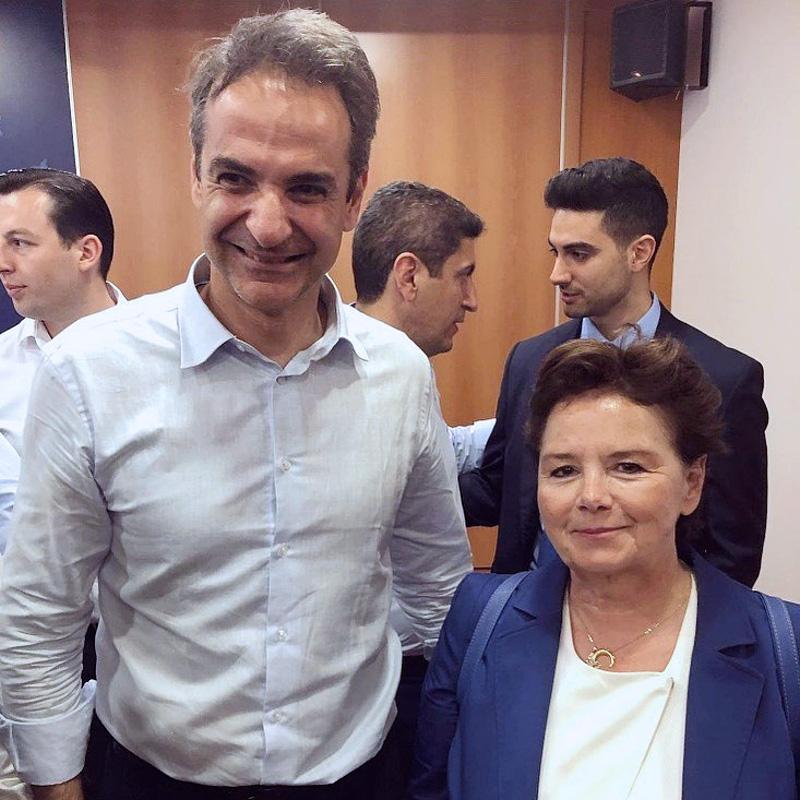 Με τον πρόεδρο της Νέας Δημοκρατίας Κυριάκο Μητσοτάκη στην πρόσφατη περιοδεία του στη Δωδεκάνησο.
