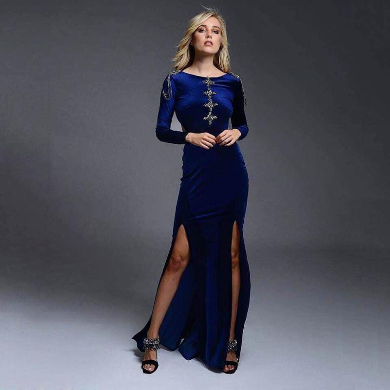 Μπλε βελούδινο φόρεμα nash by Natasha Avloniti