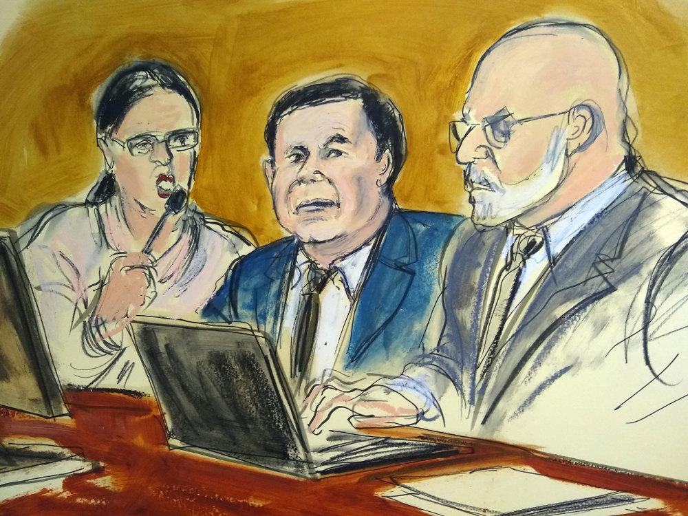 Σκίτσο από το δικαστήριο των ΗΠΑ, όπου έλαβε χώρα η δίκη του βαρόνου των ναρκωτικών Ελ Τσάπο