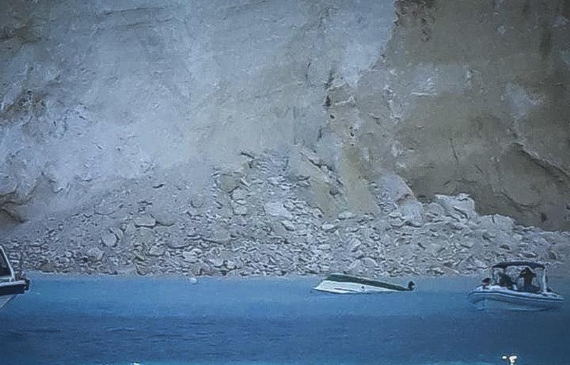 Στιγμιότυπο από την περυσινή κατολίσθηση στο Ναυάγιο Ζακύνθου