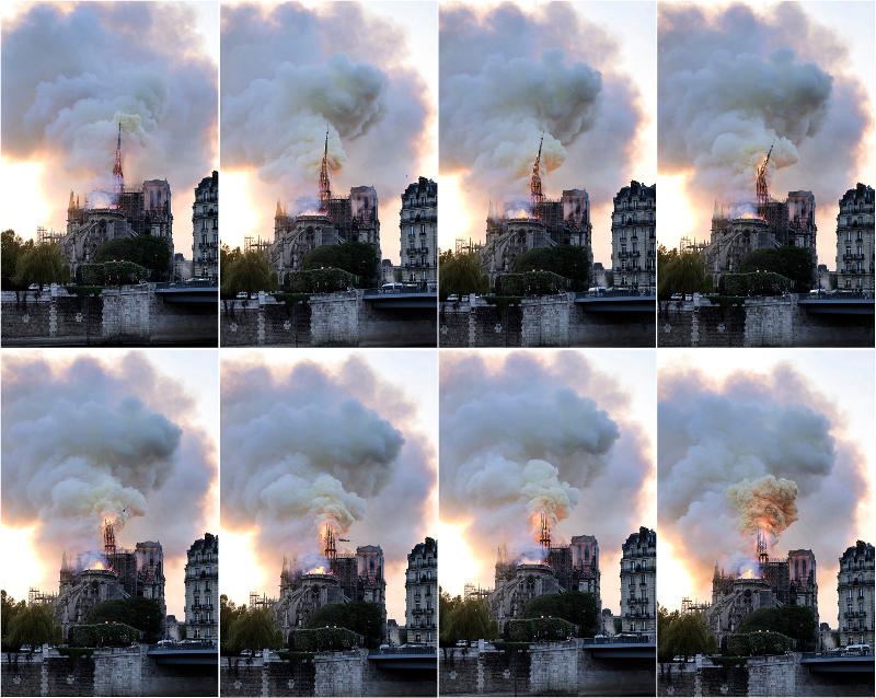 Τα στιγμιότυπα αποτυπώνουν την εξέλιξη της πυρκαγιάς στο «βέλος» της Παναγίας των Παρισίων.