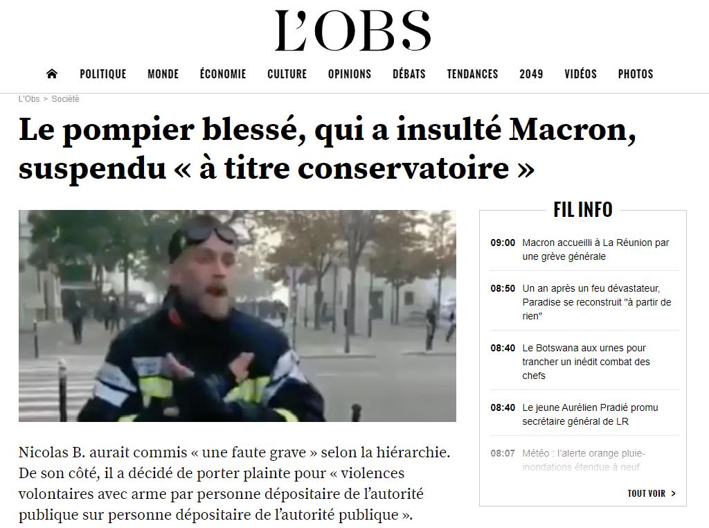 Το δημοσίευμα του L'Obs για την θέση σε διαθεσιμότητα του Γάλλου πυροσβέστη