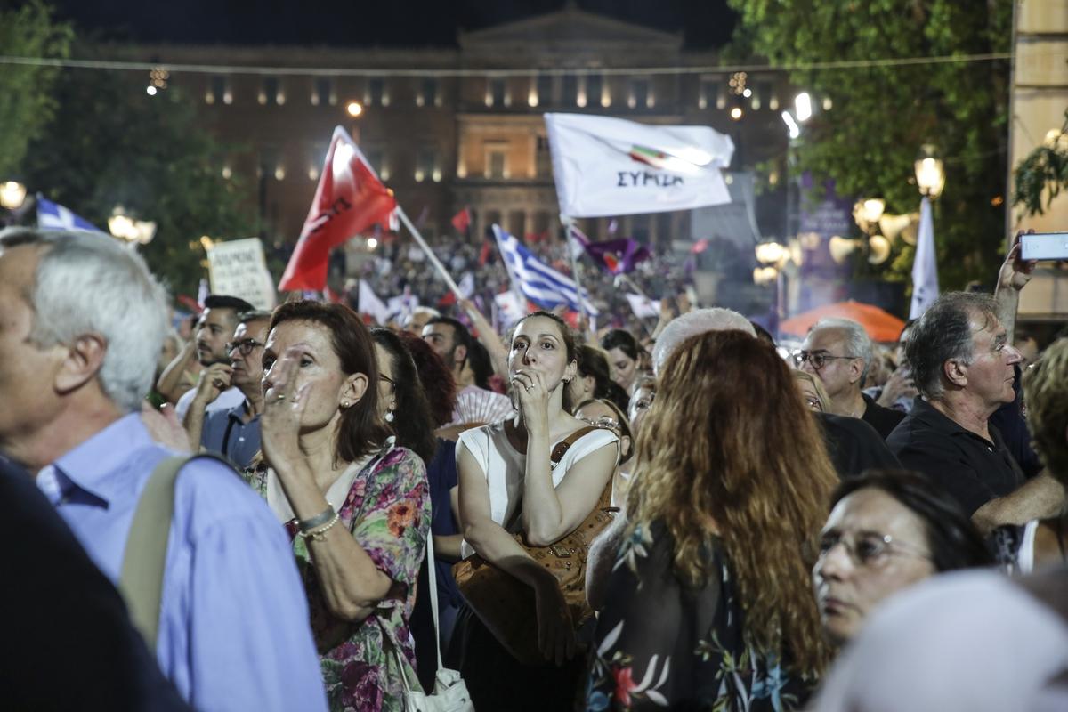 Υποστηρικτές του ΣΥΡΙΖΑ στην κεντρική προεκλογική συγκέντρωση στο Σύνταγμα