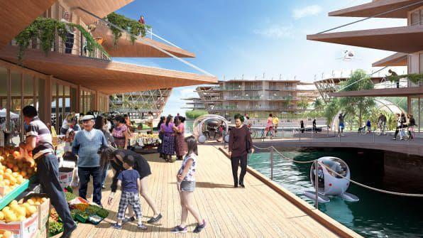 Οι πλωτές πόλεις θα κατασκευάζονται σε απόσταση ενός ναυτικού μιλίου από παραθαλάσσιες πόλεις /Φωτογραφία: BIG-Bjarke Ingels Group