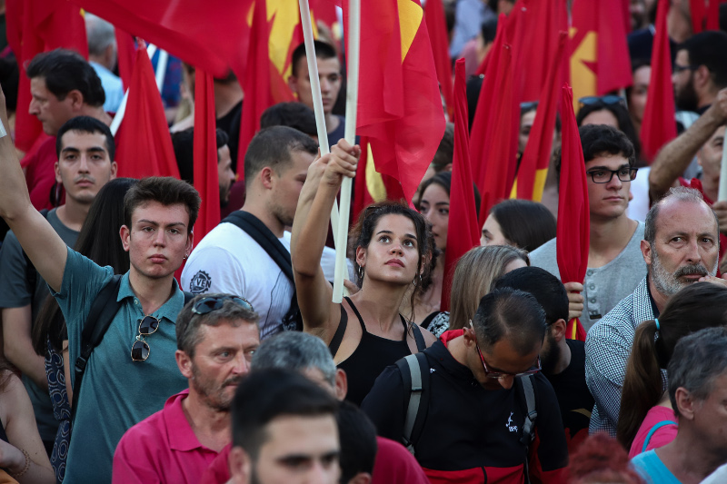 Πολίτες στην προεκλογική ομιλία του Δημήτρη Κουτσούμπα / Φωτογραφία: EUROKINISSI