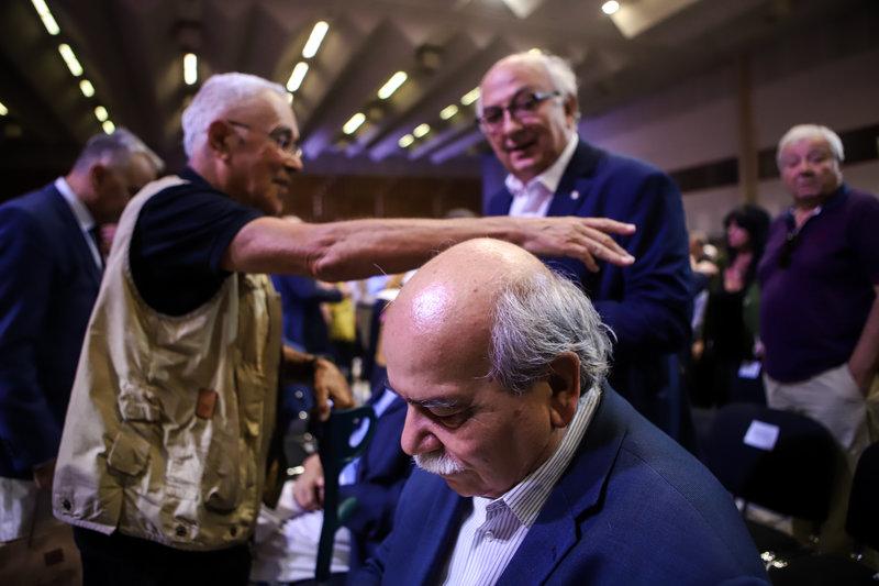 Νίκος Βούτσης, Γιάννης Αμανατίδης και Κώστας Ζουράρις στο βάθος στη ΔΕΘ 2019
