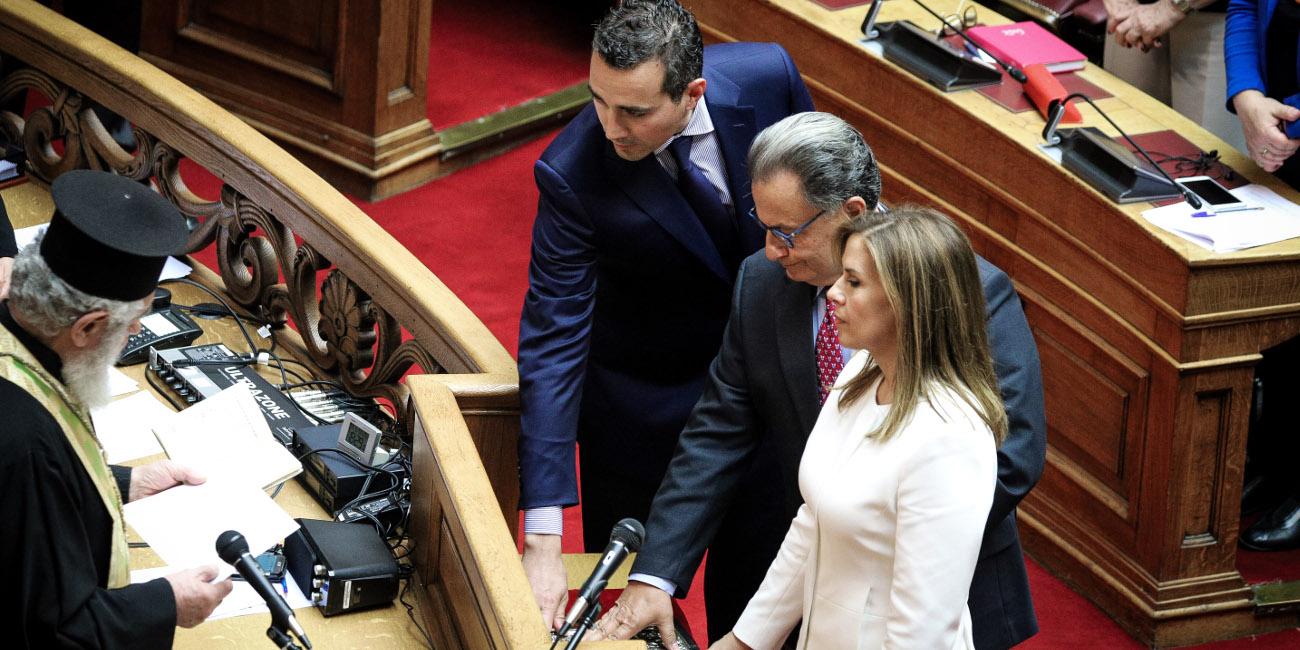 Οι βουλευτές που ορκίστηκαν: Πάνος Παναγιωτόπουλος, Ζωή Ράπτη, Νίκος Νυφούδης