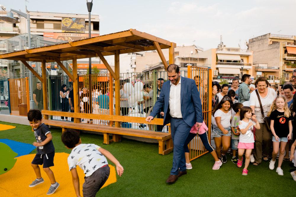 Μια από τις δύο Πρότυπες παιδικές χαρές στην πλατεία Ελευθερίας