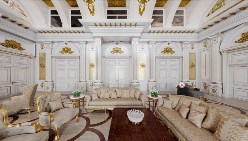 Το πολυτελές σαλόνι, σύμφωνα με τα σχέδια του Ναβάλνι