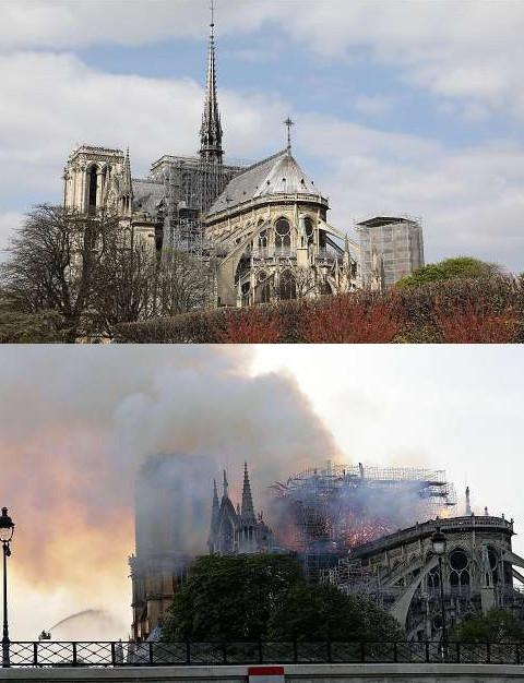 Το πριν και το μετά της Νοτρ Νταμ με την στέγη καμένη