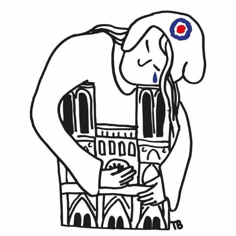 Η Γαλλία ως γυναίκα αγκαλιάζει την Παναγία των Παρισίων και δακρύζει