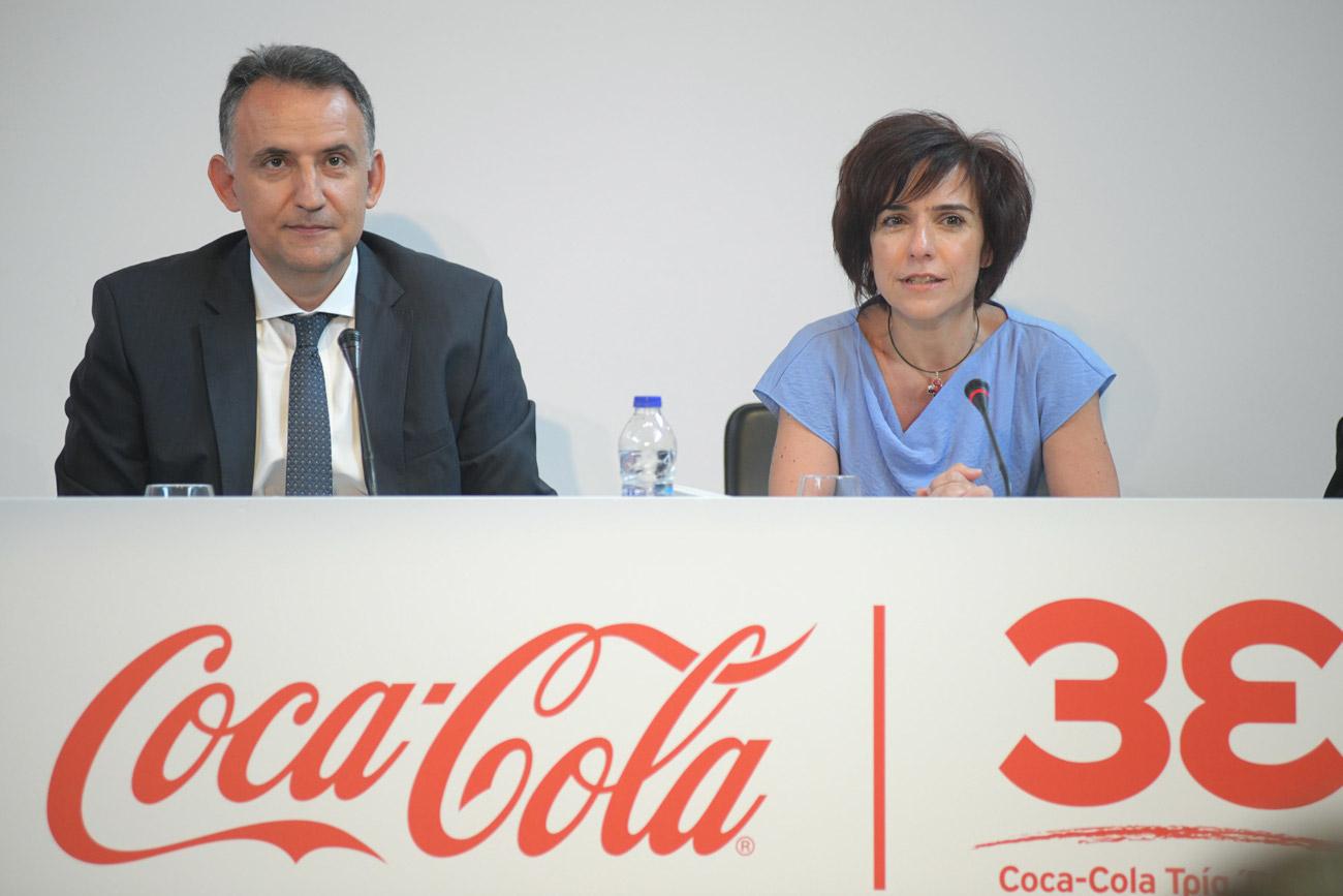Ο κ. Γ. Παπαχρήστου, Γενικός Διευθυντής Coca-Cola Τρία Έψιλον και η κα. Λ. Νεκταρίου, Γενική Διευθύντρια της Coca-Cola στην Ελλάδα