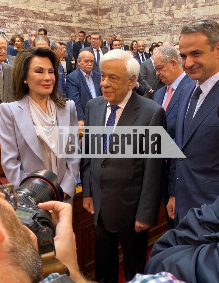 Η Γιάννα Αγγελοπούλου με τον Πρόεδρο της Δημοκρατίας και τον πρωθυπουργό