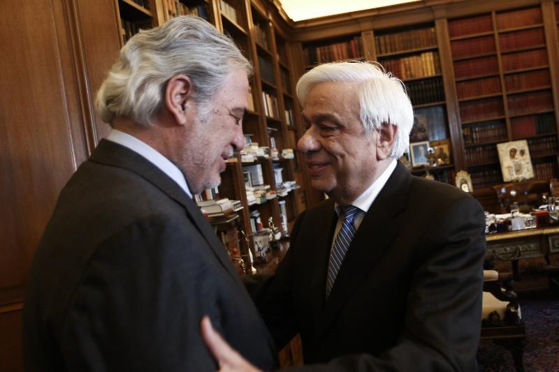 Ο Προκόπης Παυλόπουλος με τον Χρήστο Στυλιανίδη / Φωτογραφία: EUROKINISSI