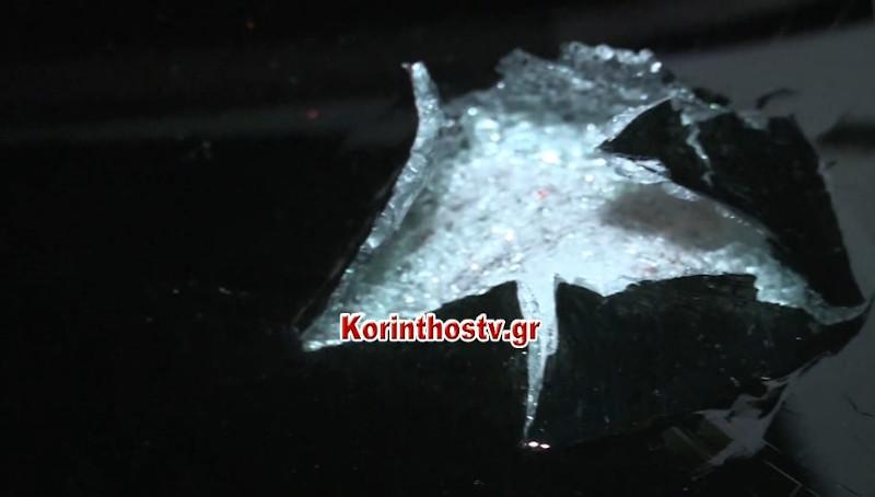 Επιτέθηκαν με πέτρες και σε 5 ΙΧ / Φωτογραφία: korinthostv.gr