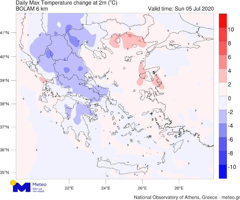 καιρός χάρτης Ελλάδος