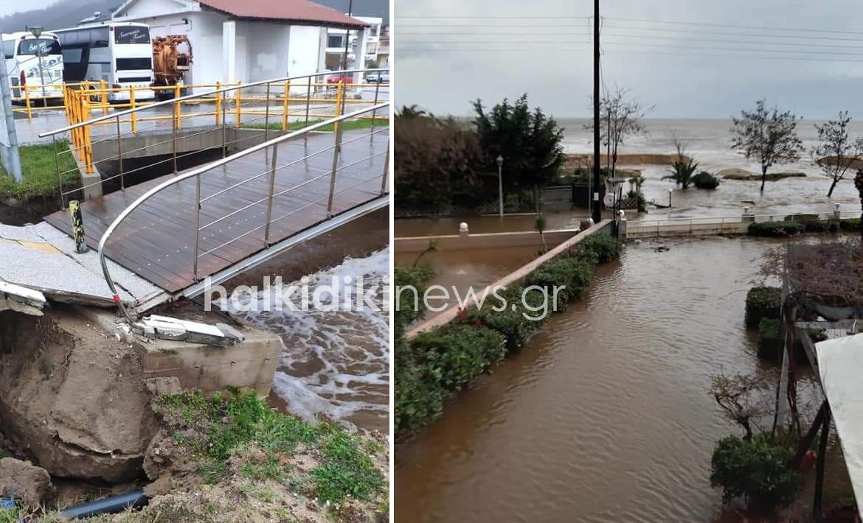 Πλημμύρες και διαλυμένη γέφυρα στην Χαλκιδική