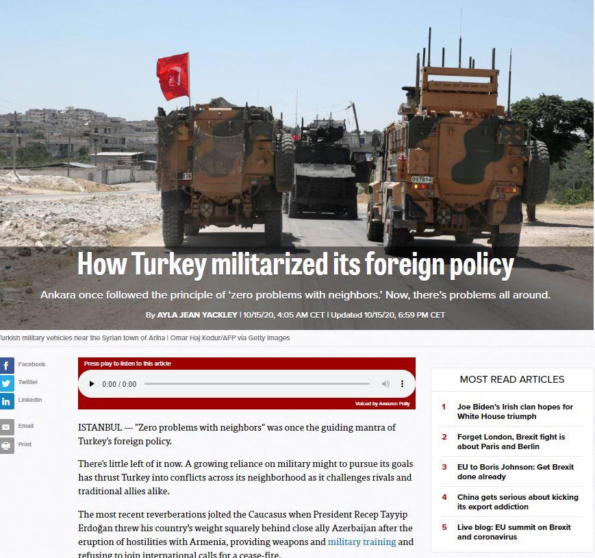 Η ανάλυση του Politco για την Τουρκία και την εξωτερική της πολιτική