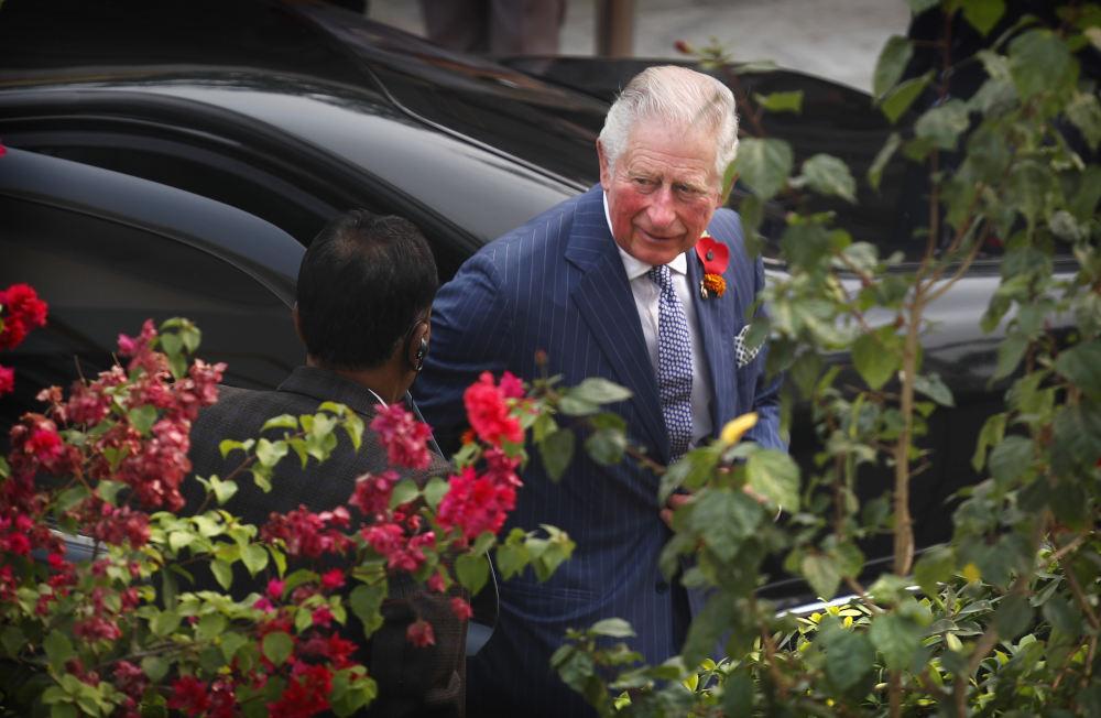 Ο Πρίγκιπας Κάρολος με ριγέ κοστούμι και λουλούδι στο πέτο