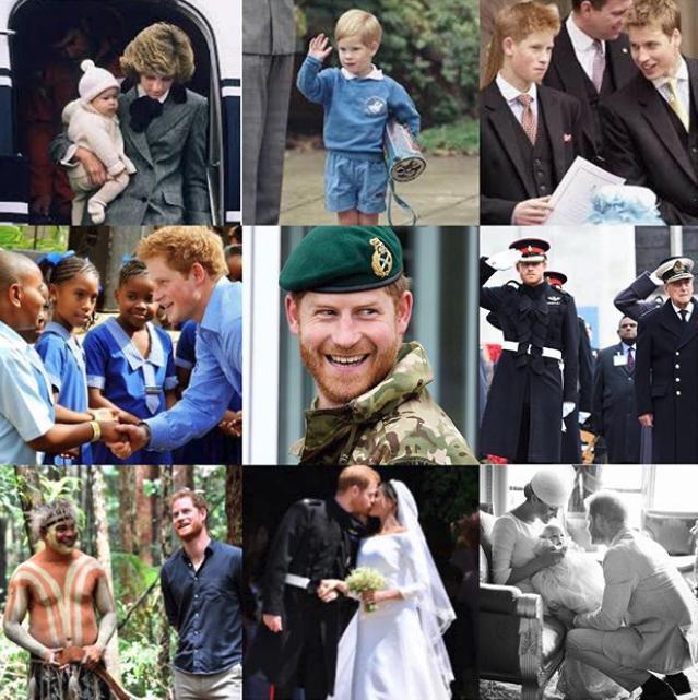 Το κολάζ φωτογραφιών που ανέβασε η Μέγκαν Μαρκλ με αφορμή τα γενέθλια του πρίγκιπα Χάρι
