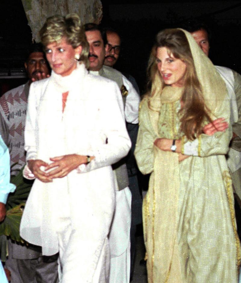 Η πριγκίπισσα Νταϊάνα με την τότε σύζυγο του Ιμράν Καν, Τζεμίμα Γκόλντσμιθ