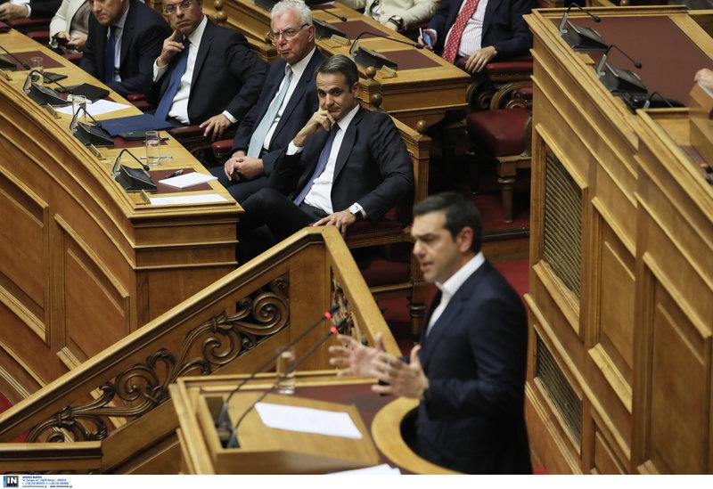 Ο Αλέξης Τσίπρας στην πρώτη του ομιλία ως αρχηγού της αξιωματικής αντιπολίτευσης με πρωθυπουργό τον Κυριάκο Μητσοτάκη