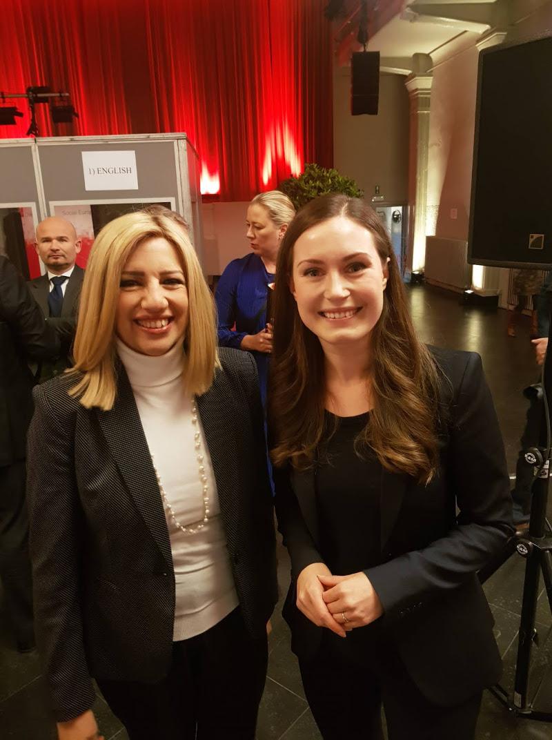 Η Φώφη Γεννηματά με την πρωθυπουργό της Φινλανδίας, Σάνα Μάριν