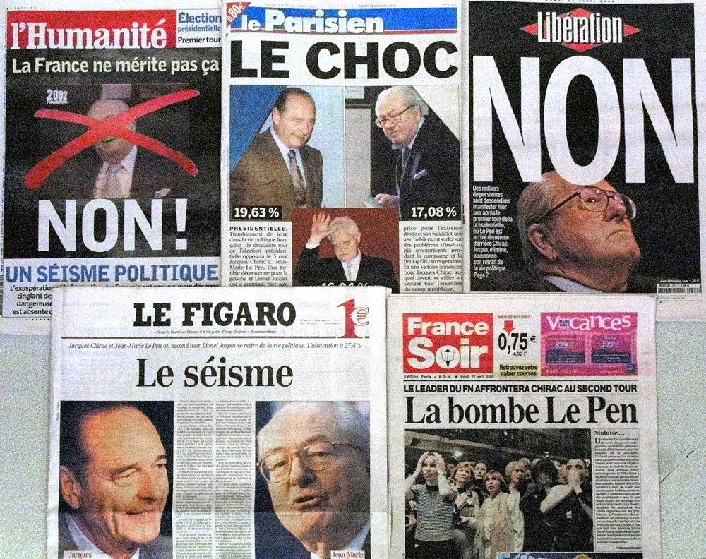 Τα πρωτοσέλιδα των γαλλικών εφημερίδων την επομένη της πρόκρισης του Ζαν Μαρί Λε Πεν στο β' γύρο των προεδρικών εκλογών το 2002