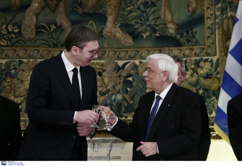 Ο Πρόεδρος της Δημοκρατίας Πρ. Παυλόπουλος κατά την προσφώνησή του στον ομόλογό του της Σερβίας Αλεξ. Βούτσιτς-