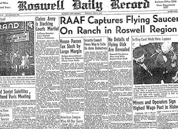 Το πρωτοσέλιδο της Roswell Daily Record της 8ης Ιουλίου 1947, που έκανε λόγο για «ιπτάμενο δίσκο».